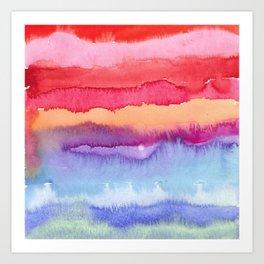 Watercolor Neck Gaiter Watercolor Stripes Reds Blues Neck Gator Art Print