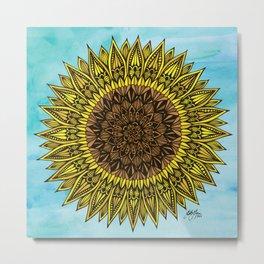 Zentangle - Sunflower Sunshine  Metal Print
