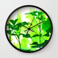 clover Wall Clocks featuring Clover by Bella Mahri-PhotoArt By Tina