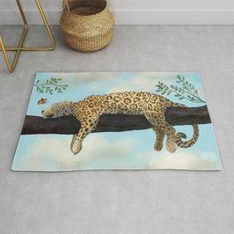 Sleepy Jaguar Hanging on a Branch Rug