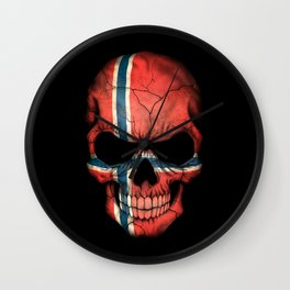 Dark Skull with Flag of Norway Wall Clock