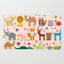 Set of funny cartoon animals character on pink seamless background. zoo. Vector Rug