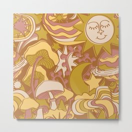Psychedelic Daydream in Gold + Mauve Metal Print