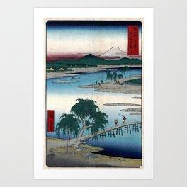 Hiroshige - 36 Views of Mount Fuji (1858) - 13: The Tama River in Musashi Province Art Print