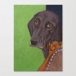 Dog on Chair Canvas Print
