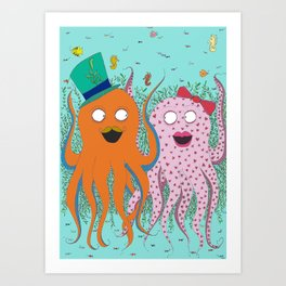 Octopus I love you Art Print