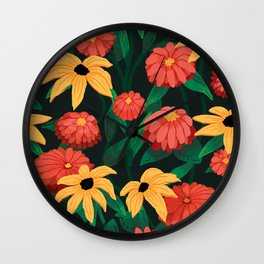 Black Eyed Susan Pattern Wall Clock