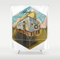 earthbound Shower Curtains featuring Space Camper by JustJustin