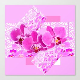 CERISE PINK ORCHID FLOWERS  WHITE PATTERN ABSTRACT Canvas Print