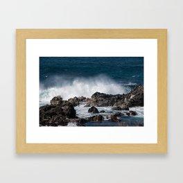 Lava Rock Ocean Spray Framed Art Print