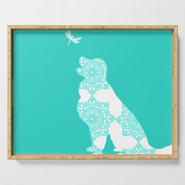 Golden Retriever on Turquoise Color Serving Tray