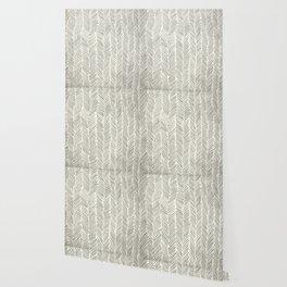Herringbone Black on Cream Wallpaper