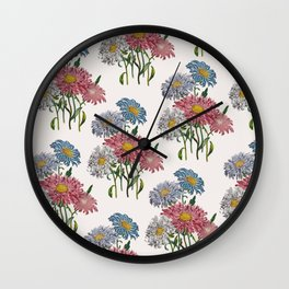 Old-fashioned illustration of China Asters Wall Clock