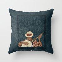 banjo Throw Pillows featuring Banjo by Aquamarine Studio