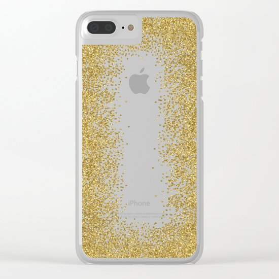 Sparkling gold glitter confetti on black background- Luxury pattern Clear iPhone Case