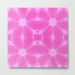 Fuchsia Pink Antique Floral Pattern Metal Print