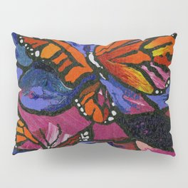 Bright Monarch Butterflies and Stained Glass Look by annmariescreations Pillow Sham