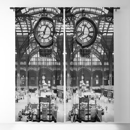 Penn Station 370 Seventh Avenue Train Station Concourse New York black and white photography - photo Blackout Curtain
