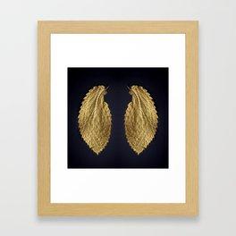 Gol Leaf Wings on Black Framed Art Print