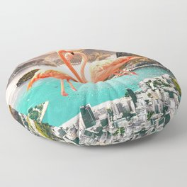 Collage, Flamingo, City, Creative, Nature, Modern, Trendy, Wall art Floor Pillow