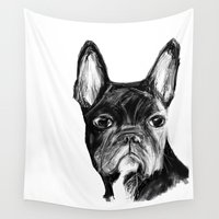bulldog Wall Tapestries featuring French Bulldog by James Peart