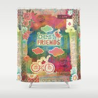 best friends Shower Curtains featuring Best Friends by Gaba Blua