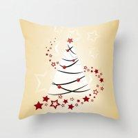 christmas tree Throw Pillows featuring christmas tree by Li-Bro