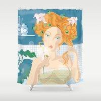 virgo Shower Curtains featuring Virgo by Alfonso Costanza