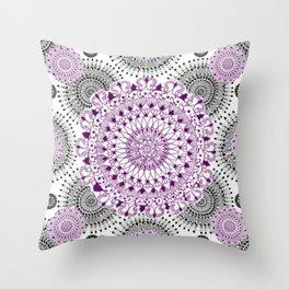 Deep Purple and Black Mandala Pattern Throw Pillow