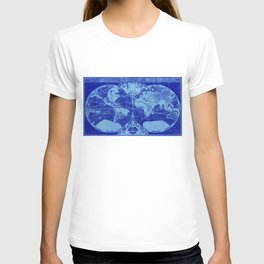 World Map (1691) Blue & Light Blue T-shirt