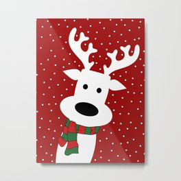 Reindeer in a snowy day (red) Metal Print