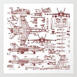 F-18 Blueprints // Red Ink Art Print