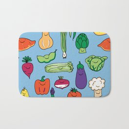 Cute Smiling Happy Veggies on blue background Bath Mat