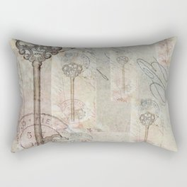 Antique French Key and Postmark Rectangular Pillow