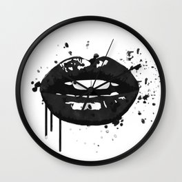 Black and white glamour fashion lips Wall Clock