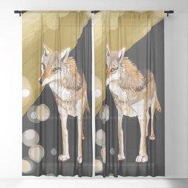 Mongolian Wolf #1 Sheer Curtain