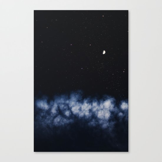 Contrail moon on a night sky Canvas Print