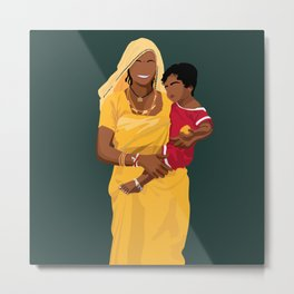 Mother and Child 2 - Indian Mother Wearing Saree and Child Metal Print