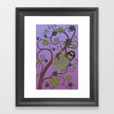 Sloth in a Tree Framed Art Print