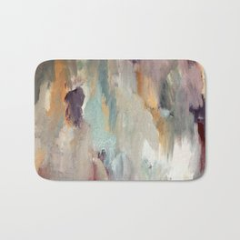Gentle Beauty [4] - an elegant acrylic piece in deep purple, red, gold, and white Bath Mat
