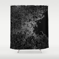 boston map Shower Curtains featuring Boston map by Line Line Lines