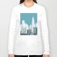 manhattan Long Sleeve T-shirts featuring Manhattan by mauromod