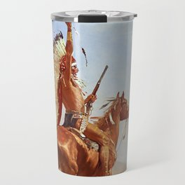 """Defiance"" Western Art by Frederick Remington Travel Mug"