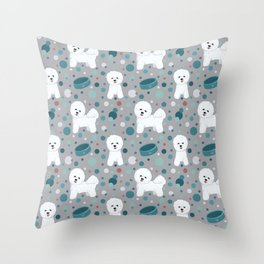 Bichon Frise dog pattern Throw Pillow