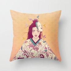 Origami Lady Throw Pillow