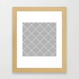 Stitched Diamond Geo Grid in Black and White Framed Art Print