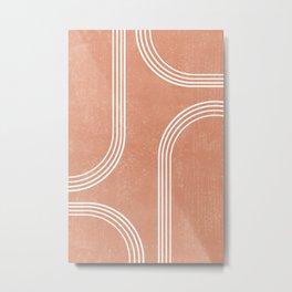 Mid Century Modern 2 - Geometrical Abstract - Minimal Print - Terracotta Abstract - Burnt Sienna Metal Print