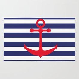 AFE Nautical Red Ship Anchor Rug