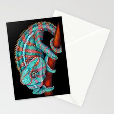 Panther Chameleon Turquoise Blue & Coral Red Stationery Cards