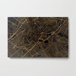 Black and gold Athens map, greece Metal Print